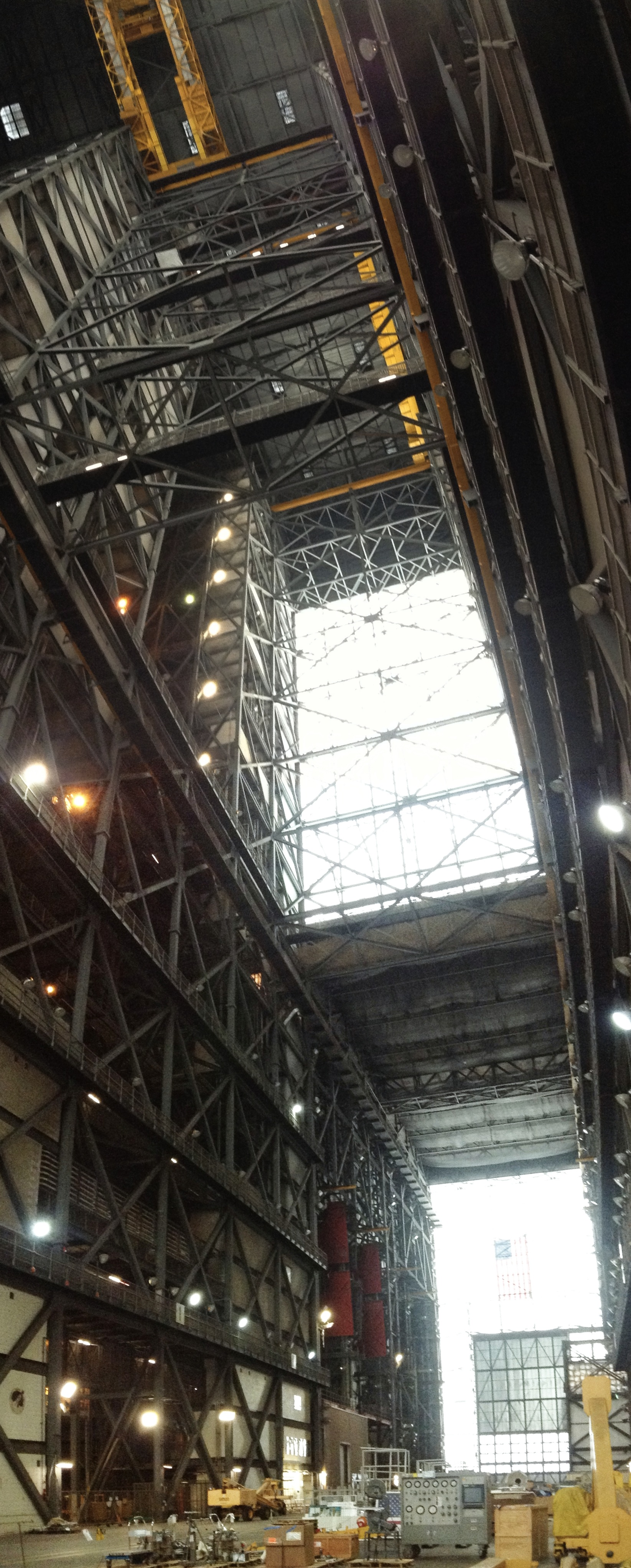 Inside NASA's massive Vehicle Assembly Building at Kennedy Space Center, Florida. Space shuttles and the Saturn V rocket, world's largest to date, were prepared for launch here. Photo: Traveling Reporter