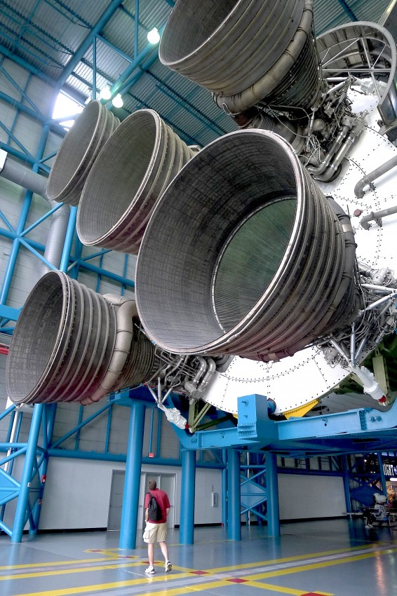 The engines of a Saturn V rocket.